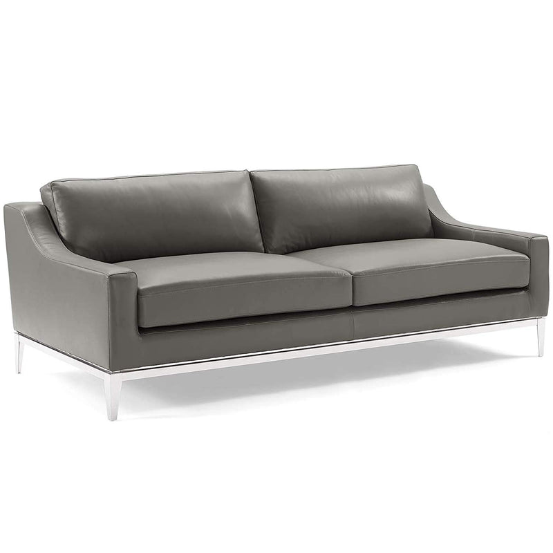 "Upholstered 83.5"" Stainless Steel Base Leather Sofa - living-essentials"