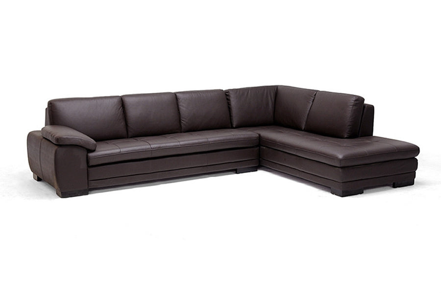 Dacia Dark Brown Chaise Sectional Sofa Free Shipping