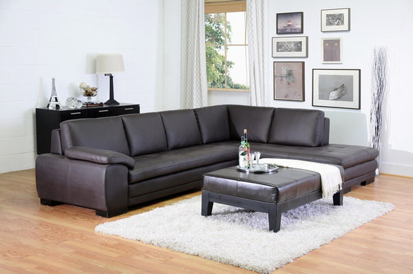 Dacia Dark Brown Chaise Sectional Sofa - living-essentials