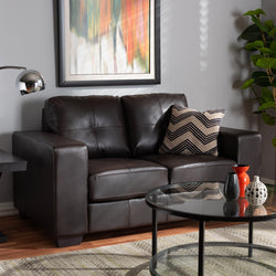 Fabio Dark Brown Faux Leather Upholstered Loveseat - living-essentials