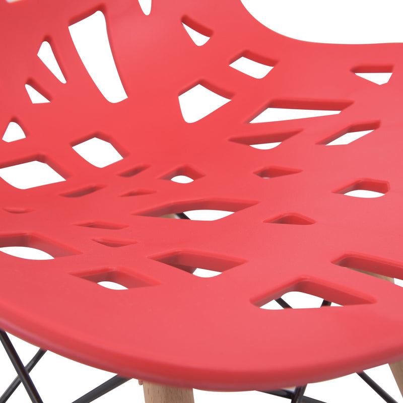 Akira Red Chair with Dowel Legs - living-essentials