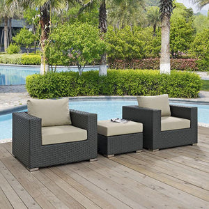 Mont Royal 3 Piece Outdoor Patio Sunbrella Sectional Set Chairs Free Shipping