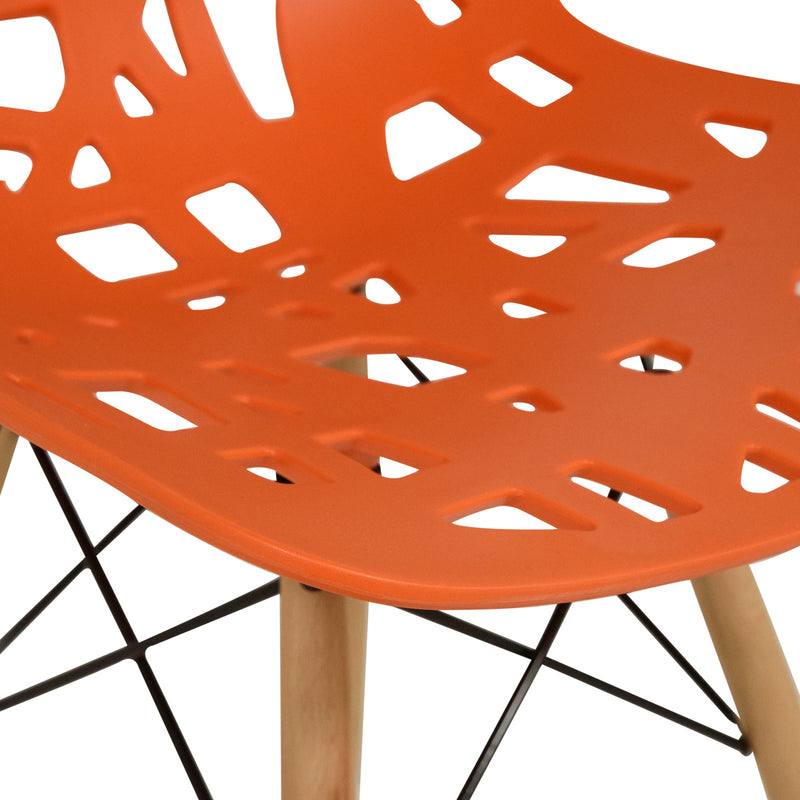 Akira Orange Chair with Dowel Legs - living-essentials
