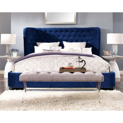 Philly Queen Navy Blue Velvet Bed Frame - living-essentials