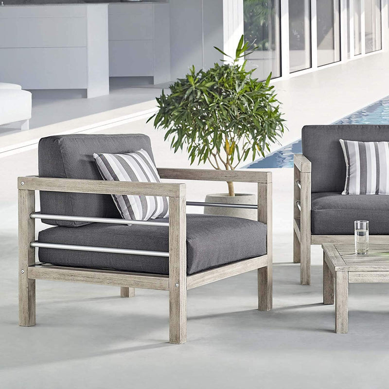 Woodland Outdoor Patio Acacia Wood Armchair - living-essentials