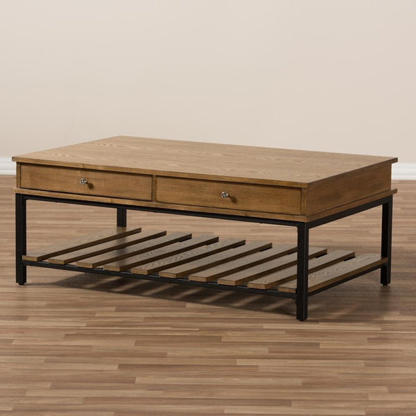 Navin Industrial Oak Brown Coffee Table - living-essentials