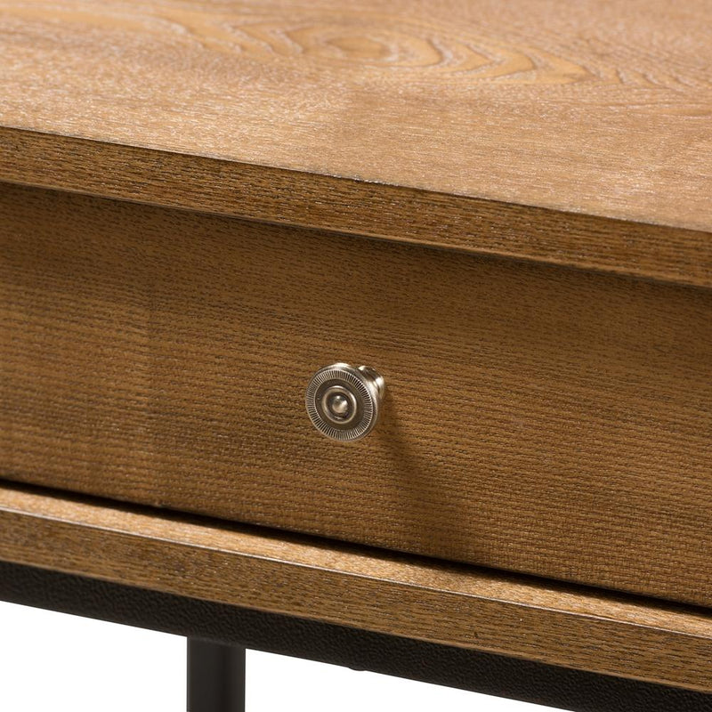 Navin Industrial Oak Brown End Table - living-essentials