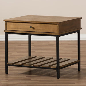 Navin Industrial Oak Brown End Table