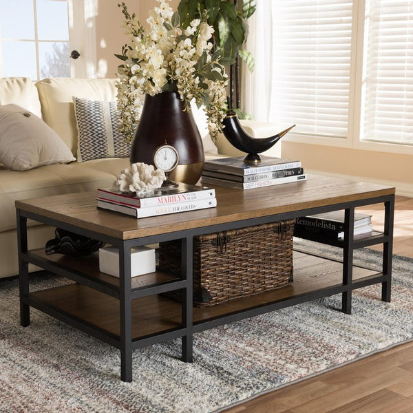 Calder Industrial Oak Brown Coffee Table - living-essentials
