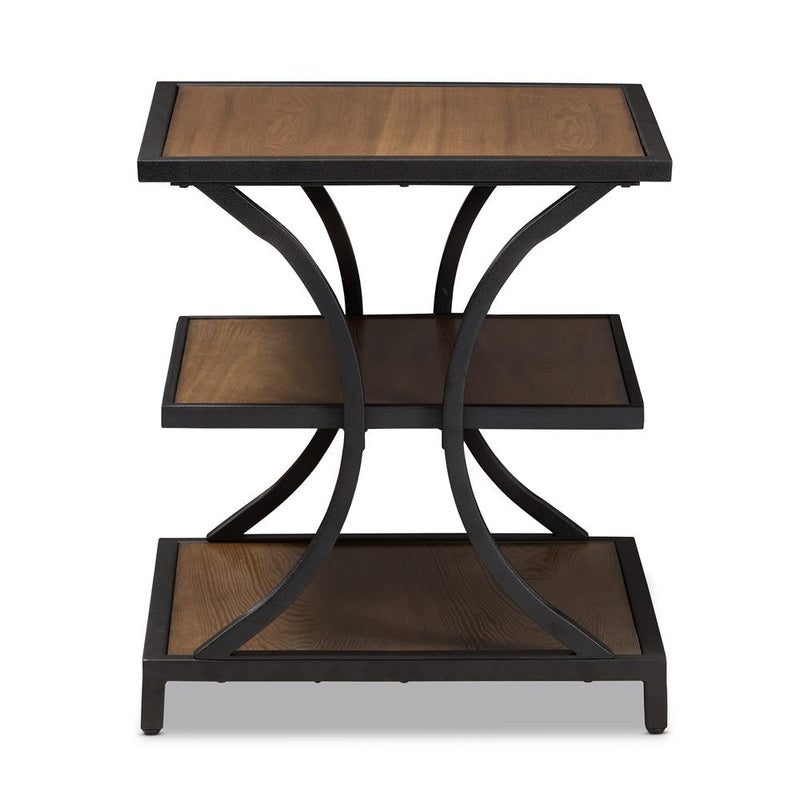 Landers Industrial Oak Brown End Table - living-essentials