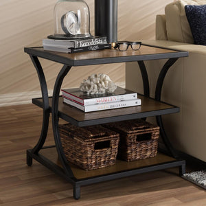 Landers Industrial Oak Brown End Table