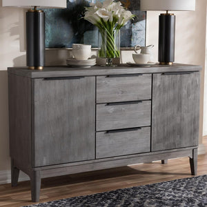 Nate Platinum Wood 3-Drawer Sideboard Buffet