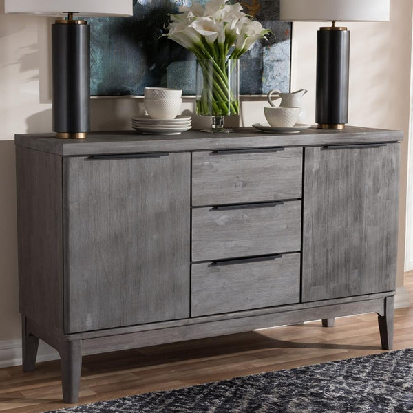 Nate Platinum Wood 3-Drawer Sideboard Buffet - living-essentials