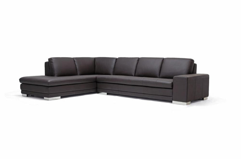 Cerise Dark Brown Leather Sectional Sofa - living-essentials