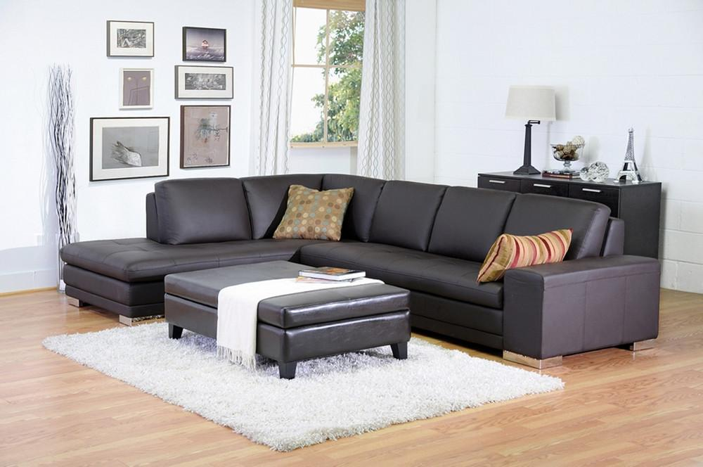 Cerise Dark Brown Leather Sectional Sofa