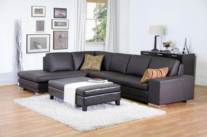 Cerise Dark Brown Leather Sectional Sofa Free Shipping