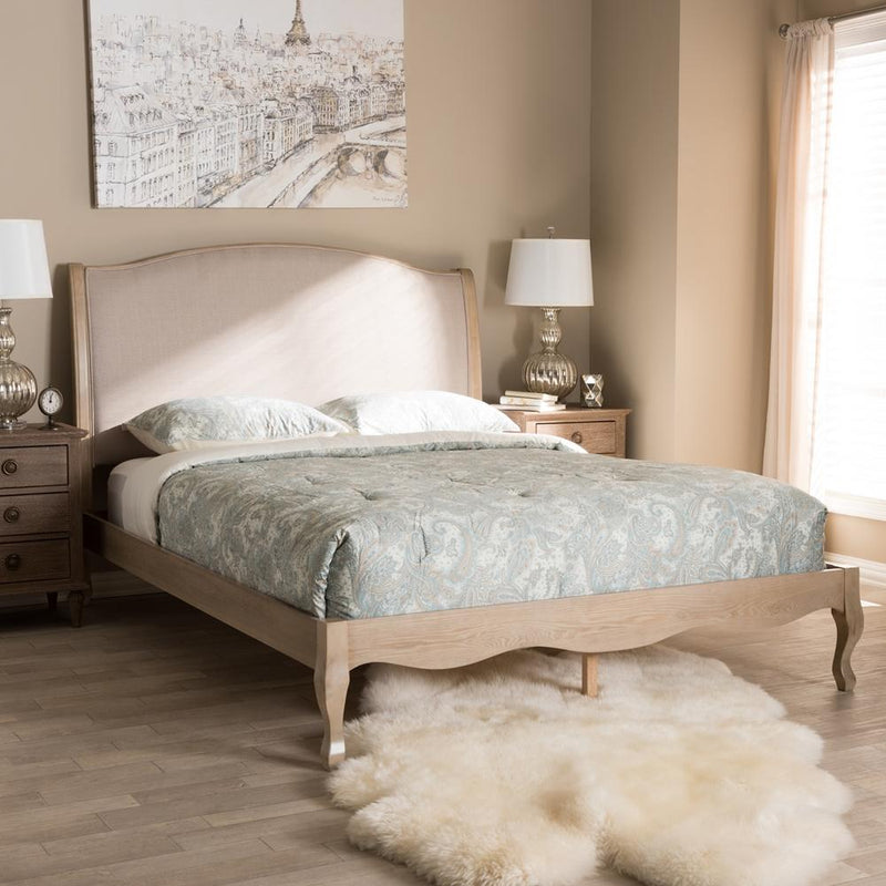 Lorraine French Light Oak Queen Platform Bed - living-essentials