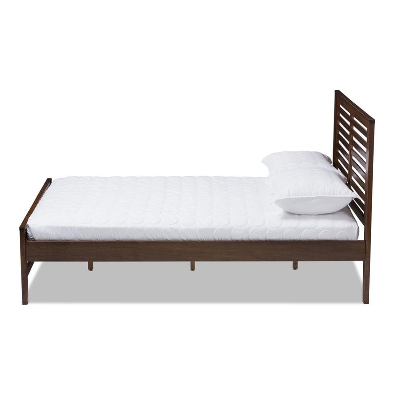Serena Walnut Brown Wood Full Platform Bed - living-essentials