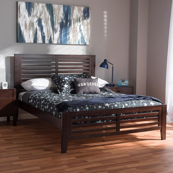 Serena Espresso Brown Wood Full Platform Bed - living-essentials