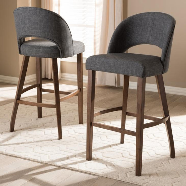 Plateau Mid-Century Modern Dark Grey Fabric Upholstered Walnut Finished Wood Bar Stool (Set of 2)
