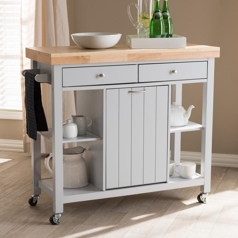 Hadley Light Grey Wood Kitchen Cart - living-essentials