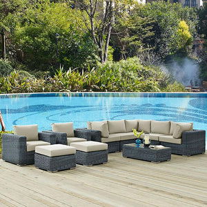 Santa Maria 10 Piece Outdoor Patio Sunbrella Sectional Set Sofas Free Shipping