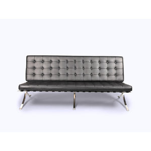 Barcelona Style Sofa Top Grain Italian Leather / Black Sofas Free Shipping