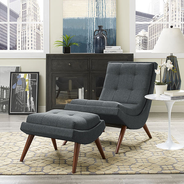 Tundra Fabric Lounge Chair & Ottoman - living-essentials