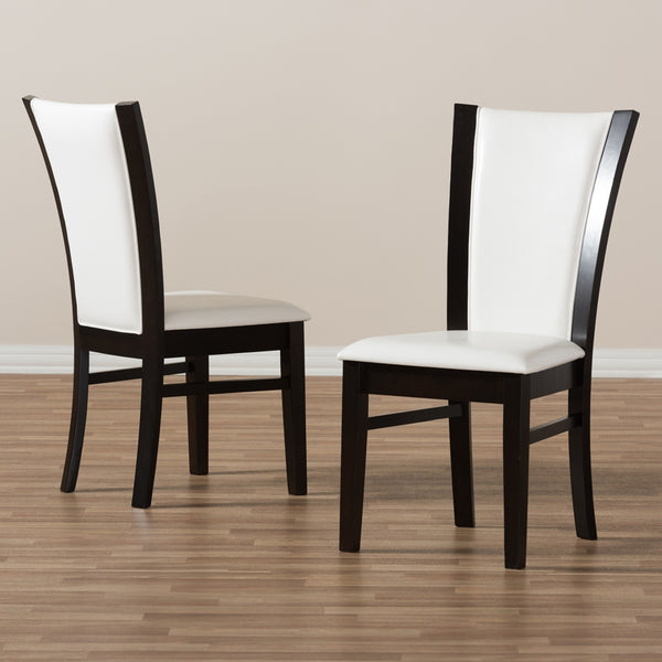 Adrina White Faux Leather Dining Chair Set of 2 - living-essentials