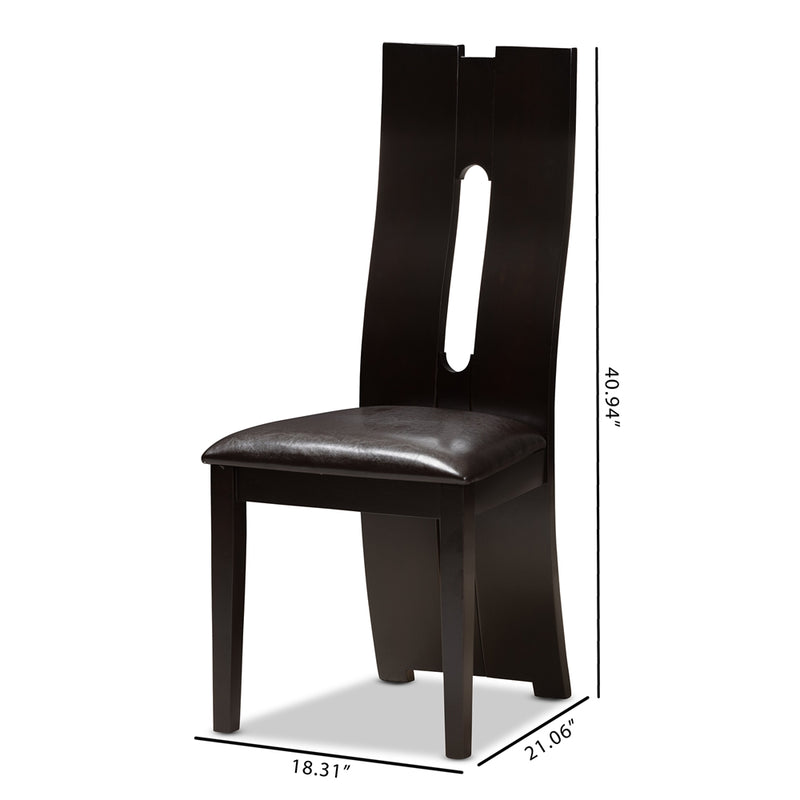 Alain Faux Leather Dining Chair Set of 2 - living-essentials