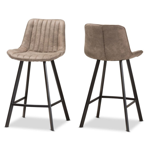 Leila Light Brown Counter Stool (Set of 2) - living-essentials