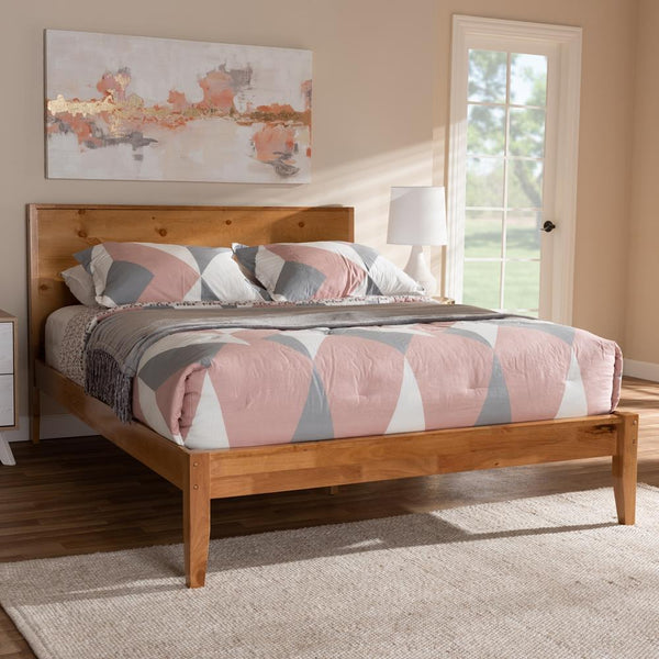 Magnus Natural Oak and Pine Queen Platform Bed - living-essentials