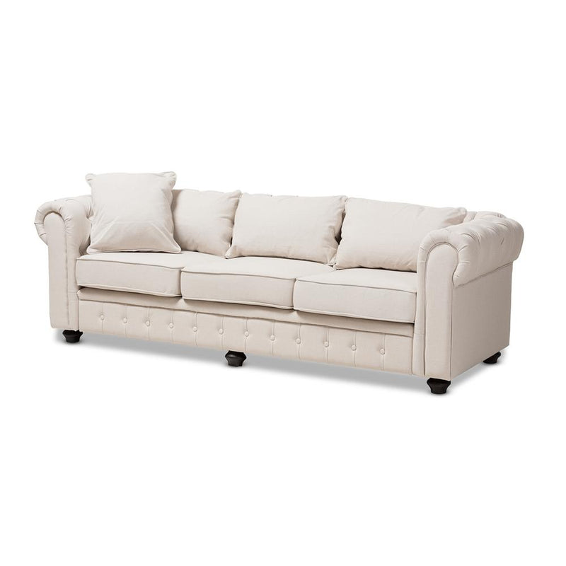 Alba Beige Scroll Arm Chesterfield Sofa - living-essentials