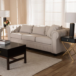 Alba Beige Scroll Arm Chesterfield Sofa