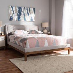 Lourdes Greyish Beige Full Platform Bed - living-essentials