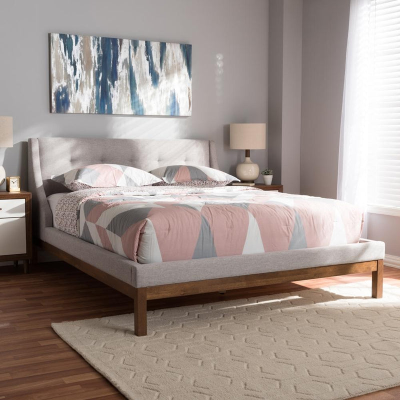 Lourdes Greyish Beige Queen Platform Bed - living-essentials