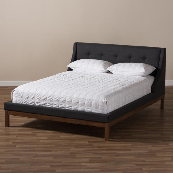 Lourdes Dark Grey Queen Platform Bed - living-essentials