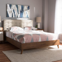 Alea Light Beige Walnut Wood King Size Platform Bed - living-essentials