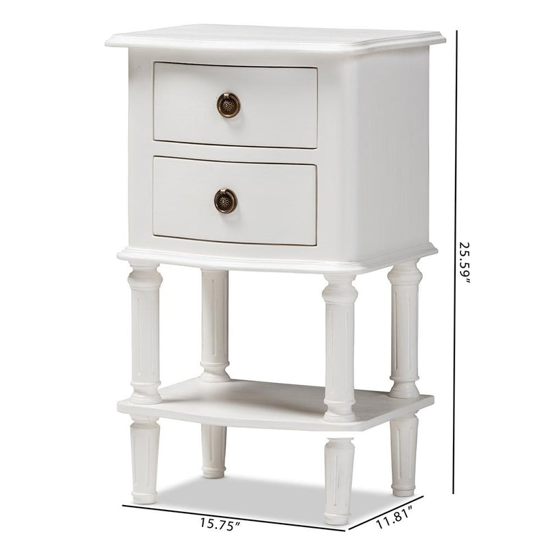 August Country Cottage Farmhouse 2-Drawer Nightstand - living-essentials