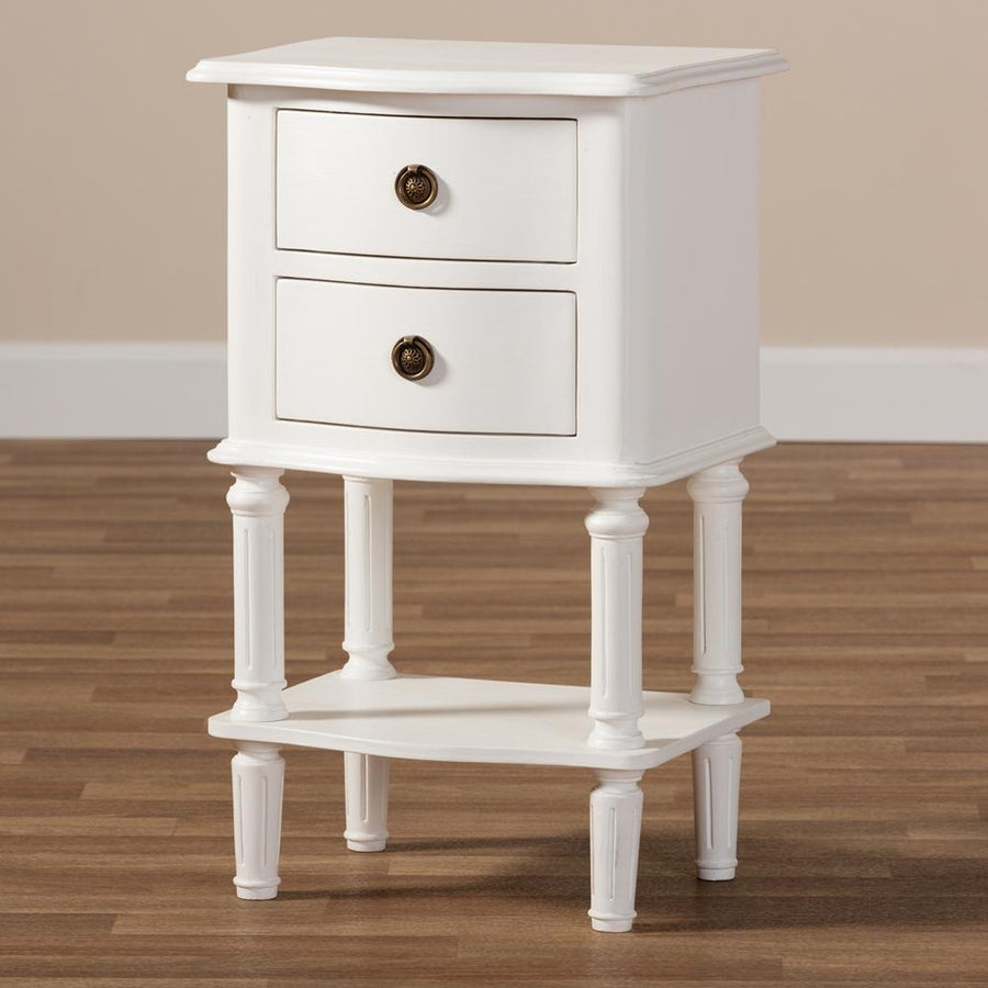 August Country Cottage Farmhouse 2-Drawer Nightstand