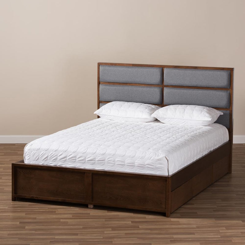 Marcelo Dark Grey Walnut Queen Storage Platform Bed - living-essentials