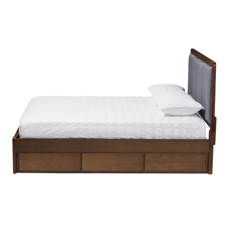 Brandt Dark Grey Walnut King Storage Platform Bed - living-essentials