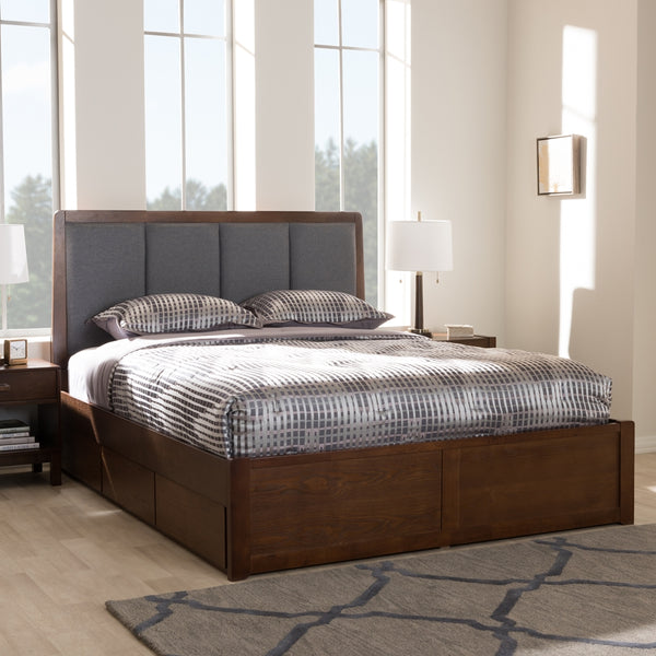 Brandt Dark Grey Walnut Queen Storage Platform Bed - living-essentials