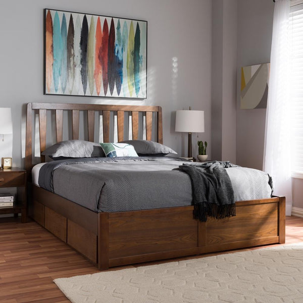 Raine Walnut King Storage Platform Bed - living-essentials