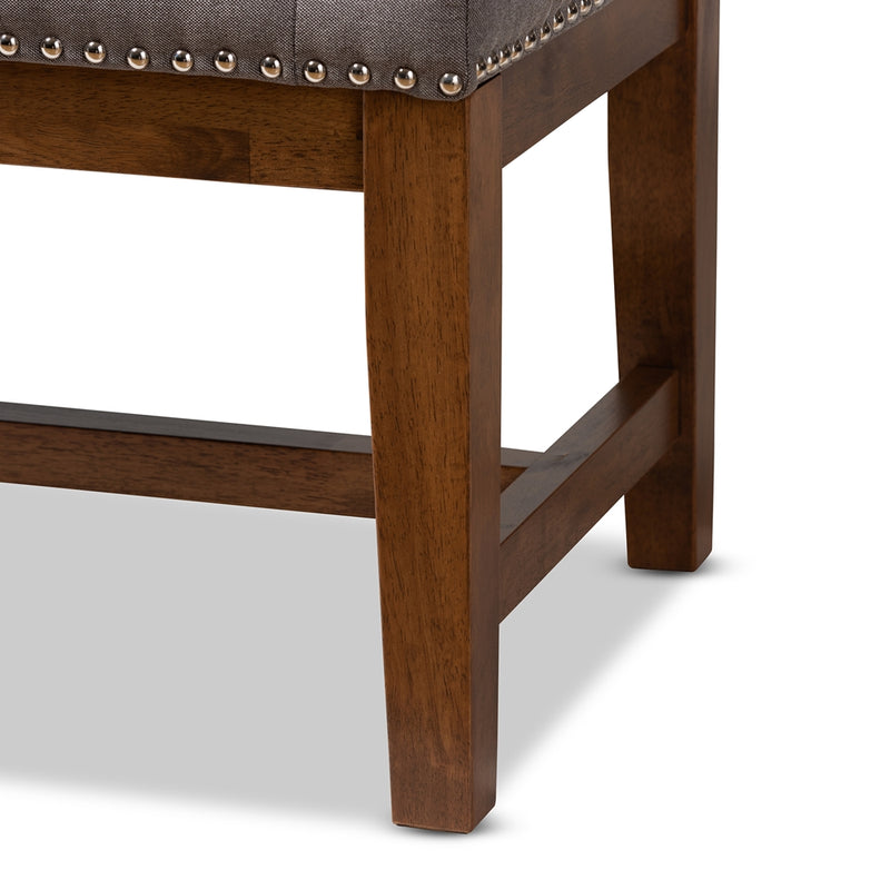Aiva Walnut Finished Solid Rubberwood Bench - living-essentials