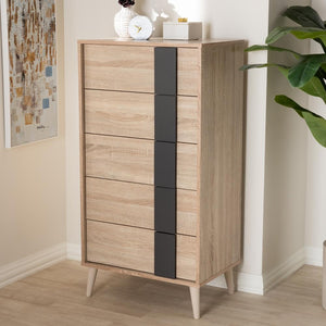 Lillie Light Oak and Grey 5-Drawer Chest