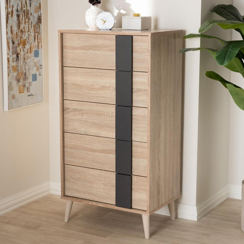 Lillie Light Oak and Grey 5-Drawer Chest - living-essentials