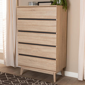 Mika Light Oak and Dark Grey 5-Drawer Chest - living-essentials