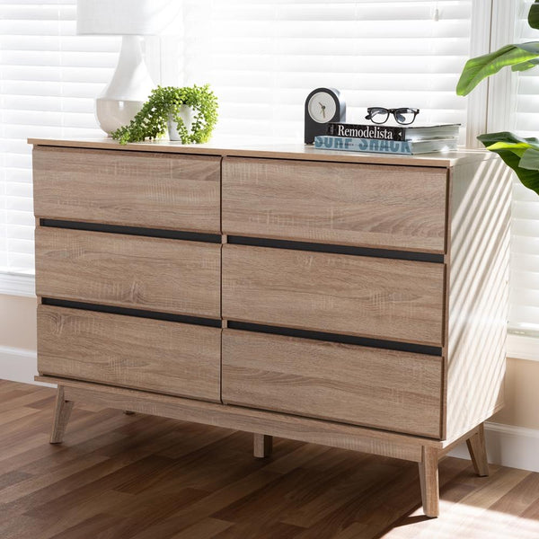 Mika Light Oak and Dark Grey 6-Drawer Dresser - living-essentials