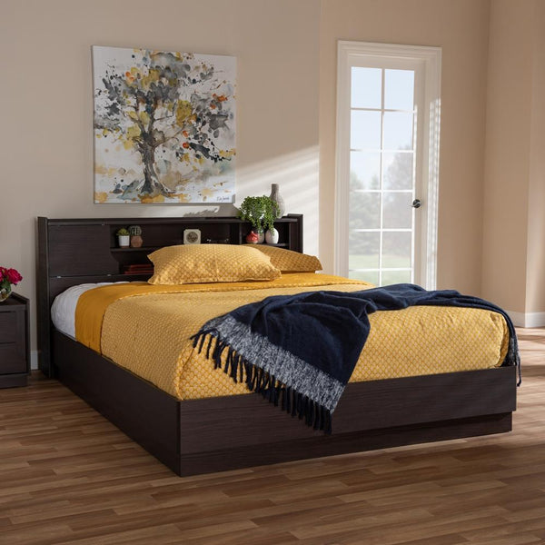 Lana Brown Queen Platform Storage Bed - living-essentials